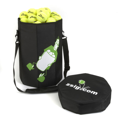Coaching Aid. Handy tennis ball bucket bag holding 120 regular tennis balls.