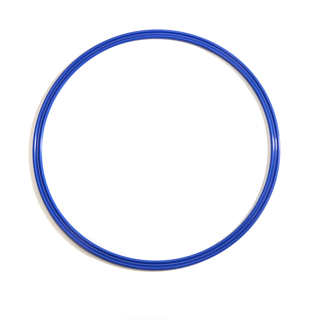 Blue 50cm flat hoop for sports coaching and training.