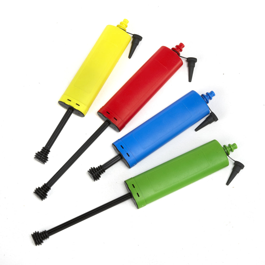 Balloon pumps in bright colours. Economical and hard-wearing.