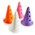 30cm marker cones with three holes to support poles, in a set of four - pink, orange, purple and white