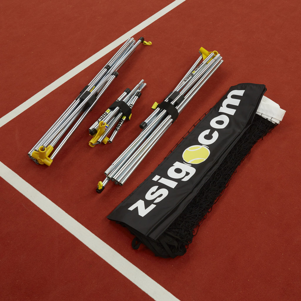 New full-size portable Zsignet 48 tennis net folded into compact bundles.