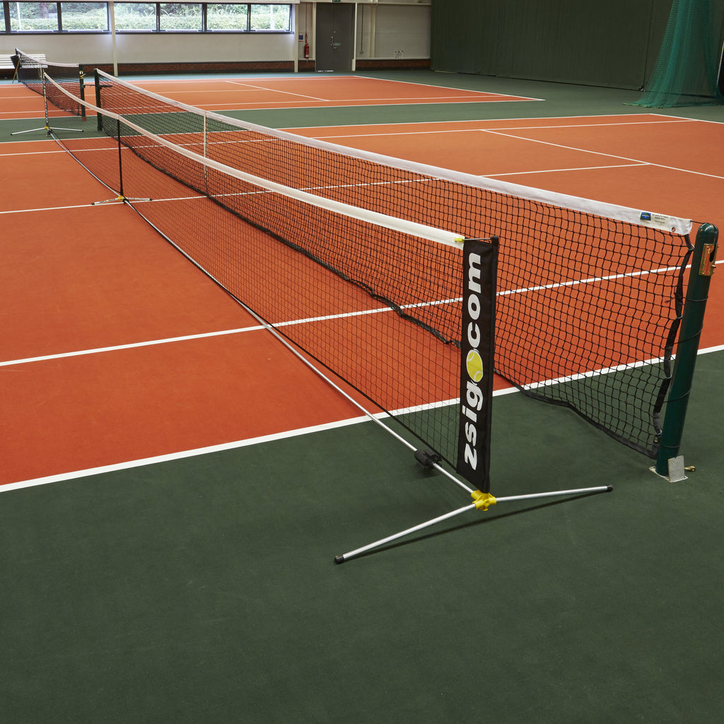 New portable Tennis Net: full-size, full-height net system from Zsig.