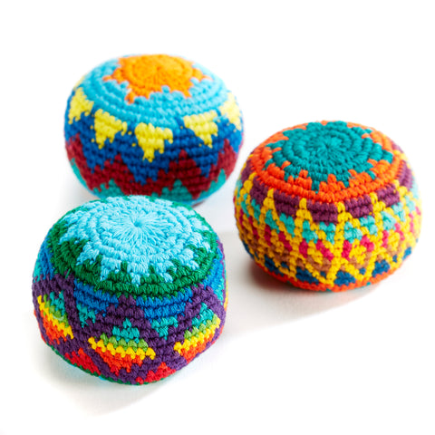 Colourful Hacky Sac balls handmade in Guatemala.