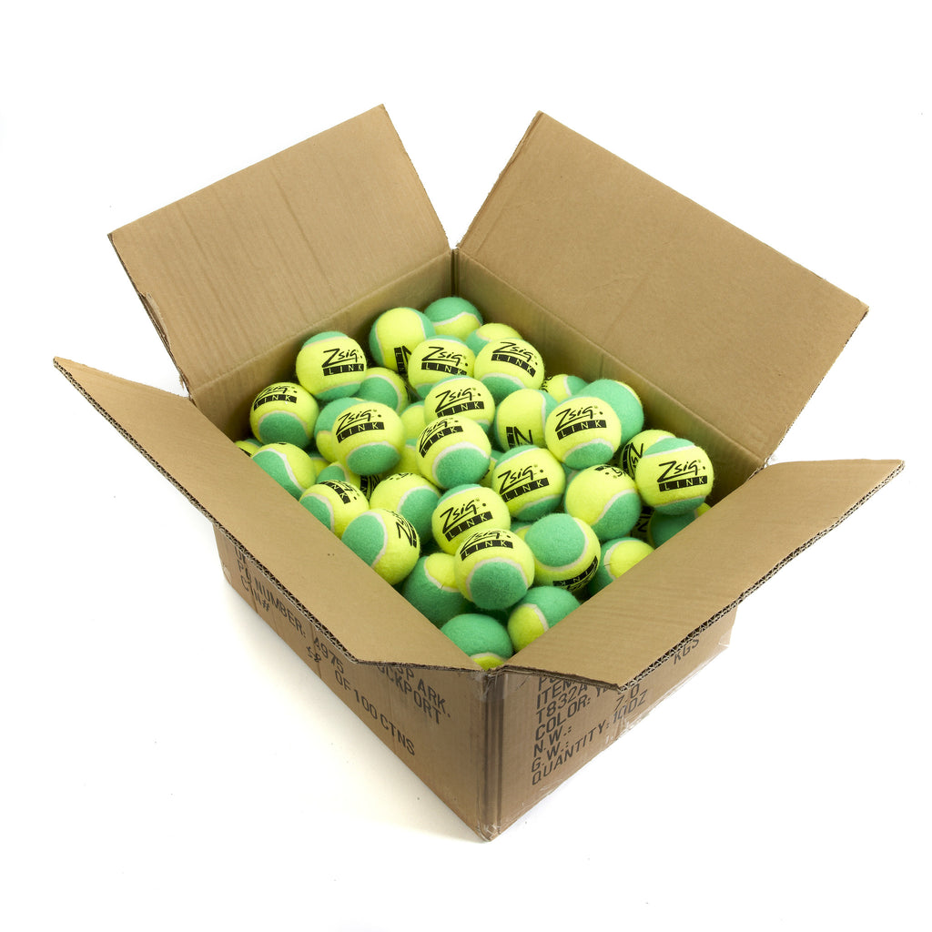 "Green Mini Tennis Balls. Zsig ""Link Green"" carton of 10 dozen balls"