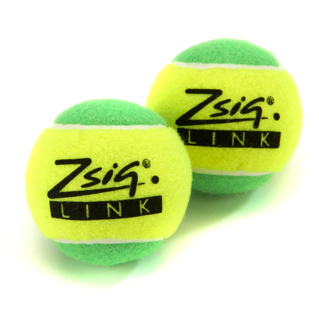 "Green Mini Tennis Balls. Zsig ""Link Green"", two balls."