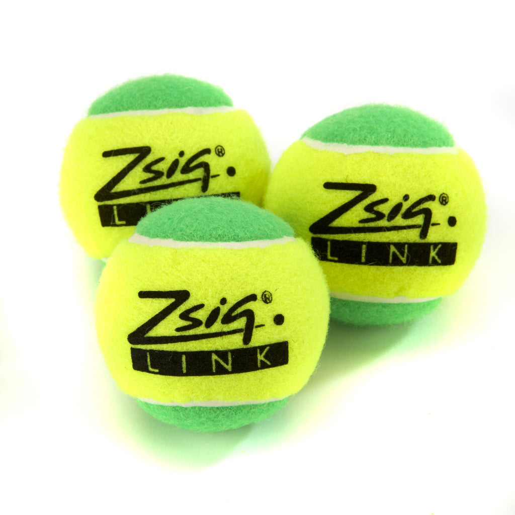 Green Mini Tennis Balls. Zsig Link Green, three balls.