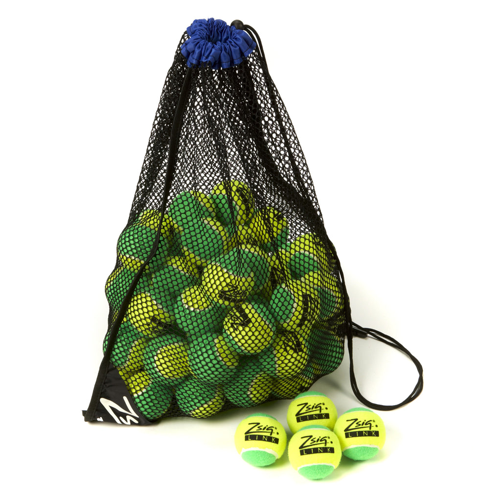 "Green Mini Tennis Balls. Zsig ""Link Green"", carry bag of 5 dozen balls."