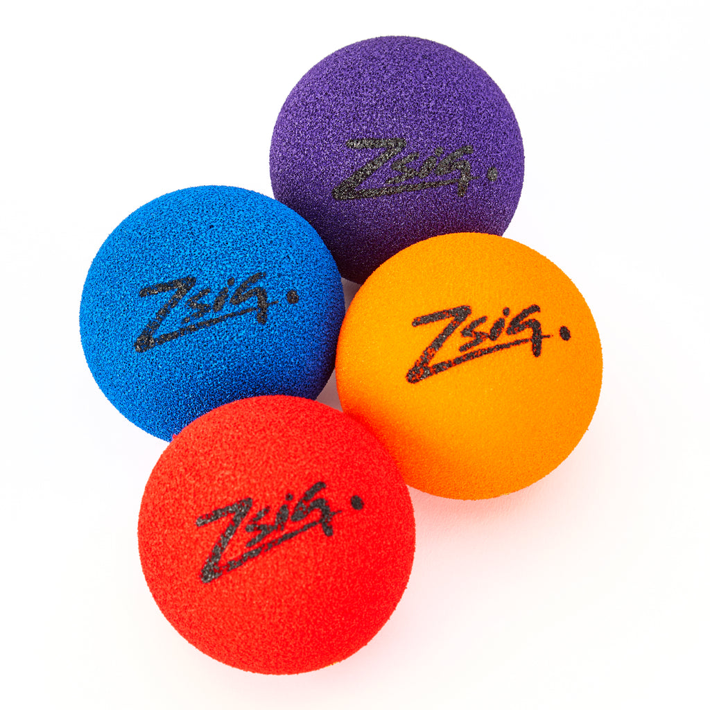 Zsig MP9 Tough Guy sponge ball in four colours - red, orange, blue and purple.