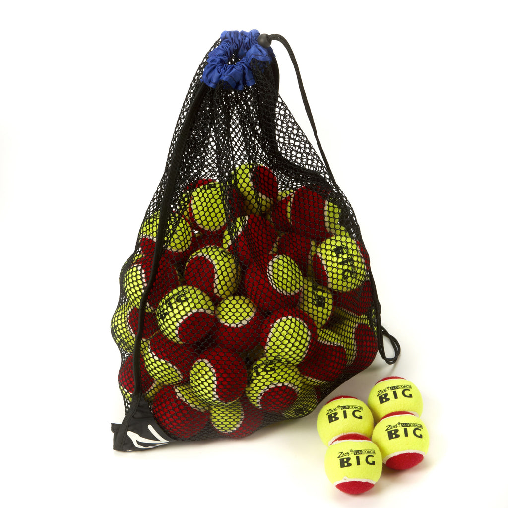 Zsig Slocoach Big Red Mini Tennis Ball Drawstring Net Bag with 5 dozen balls