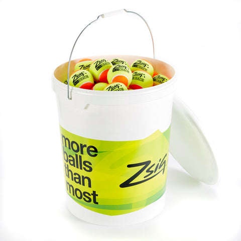 Zsig's SLOcoach Orange Mini Tennis Ball in a bucket of 96 balls.
