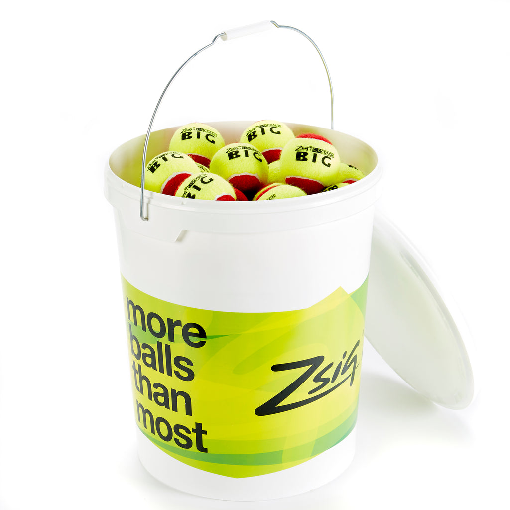 Zsig SLOcoach Big Red Mini Tennis Balls in a bucket of 96 balls