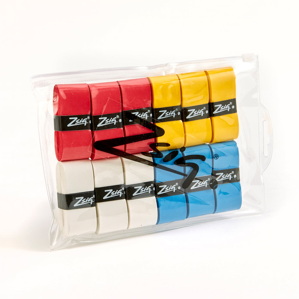 ZSig wallet of four brightly coloured tennis overgrips. PU.