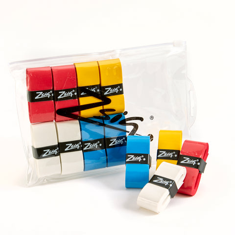 Zsig PU Overgrips in a wallet. Four bright colours.
