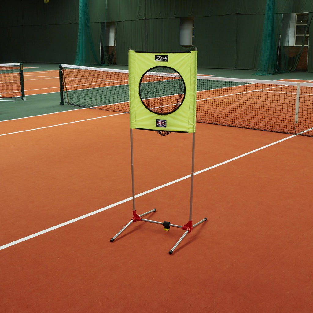 Zsig portable Target Trainer on the tennis court.