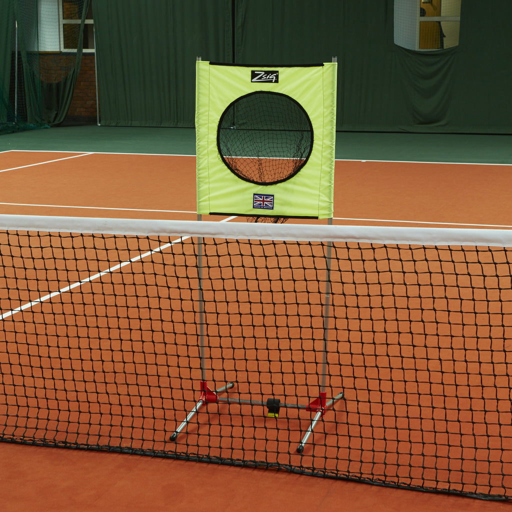 Zsig portable Target trainer in position behind a full-size tennis net.