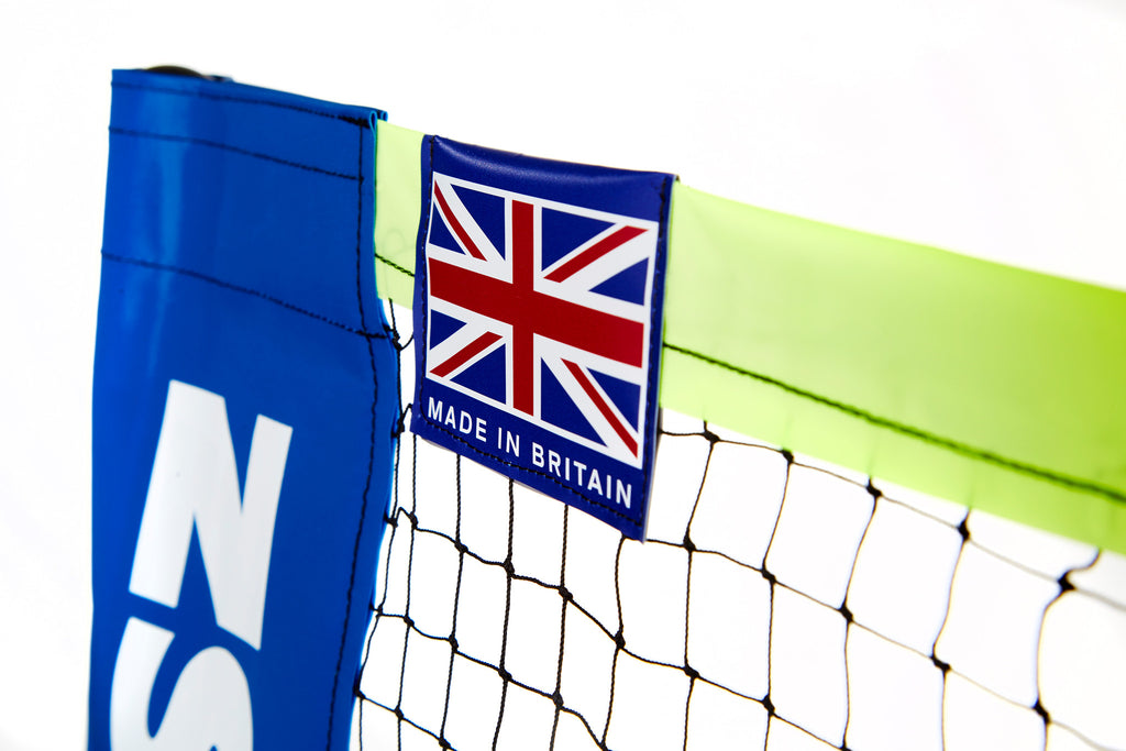 Zsig's 4.3 Badminton Net System is made by us in the UK: showing our Made in Britain flag