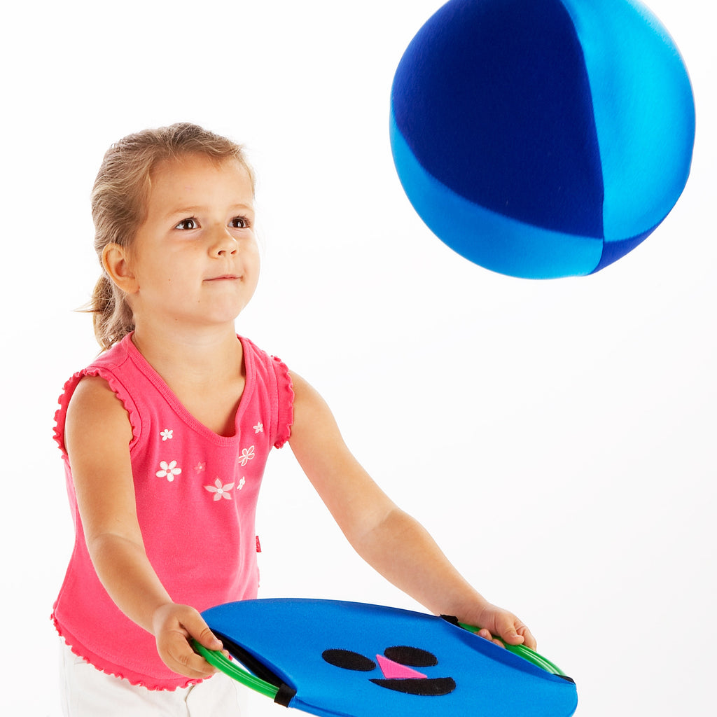 Balloon Ball used here with Zsig's Easy Catch Happy Face. Non-shiny panels 'stick' to the velcro face.