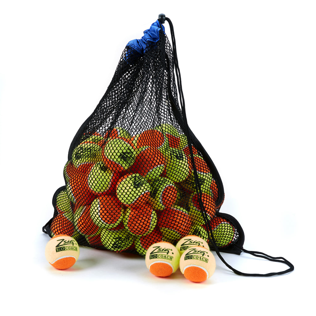 Tennis Ball 5-dozen ball drawstring carry bag. Blue band, 5-dozen Slocoach Orange.