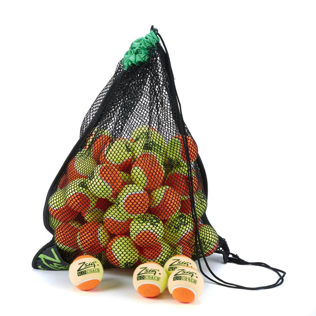 Tennis Ball 5-dozen ball drawstring carry bag. Green band, 5-dozen Slocoach Orange.