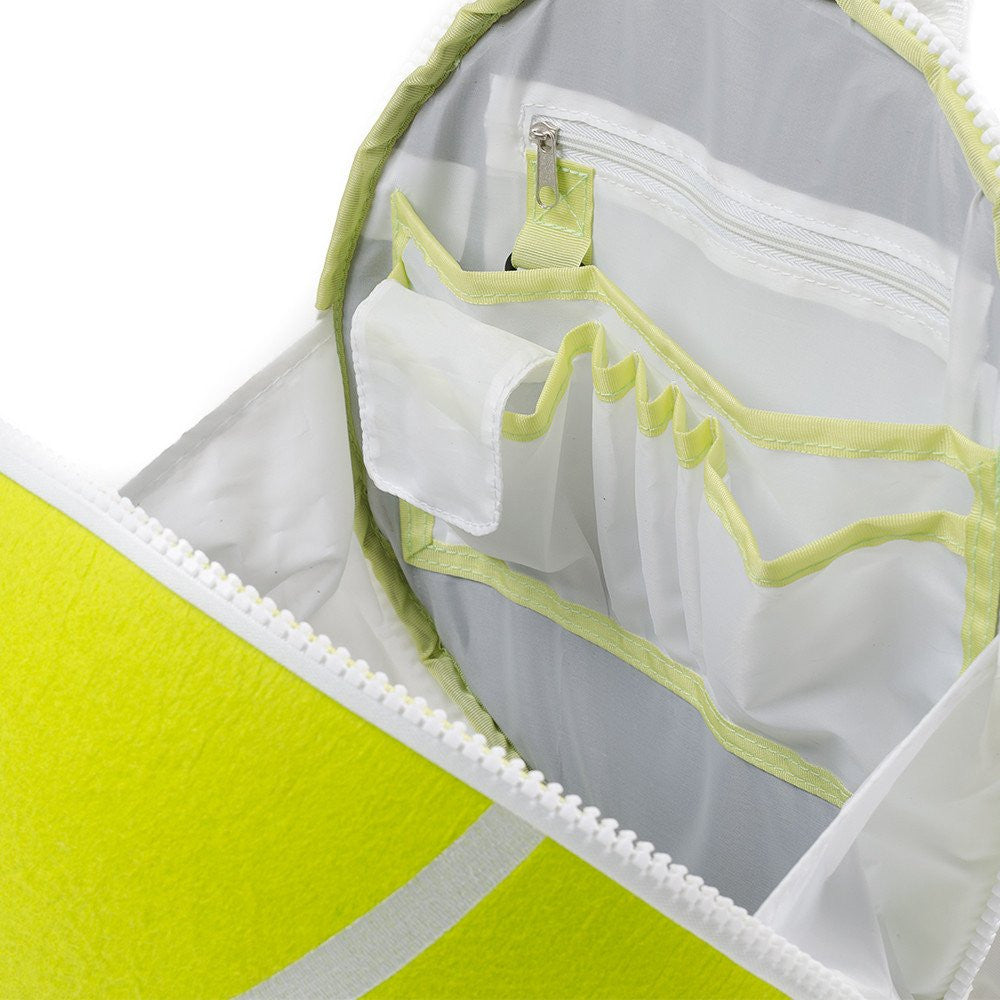 Tennis ball backpack interior shows handy compartments for pens, phone, and wallet.