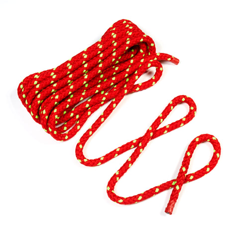 Bright red Junior Tug of War Rope, 8-braid with soft exterior, unfolded.