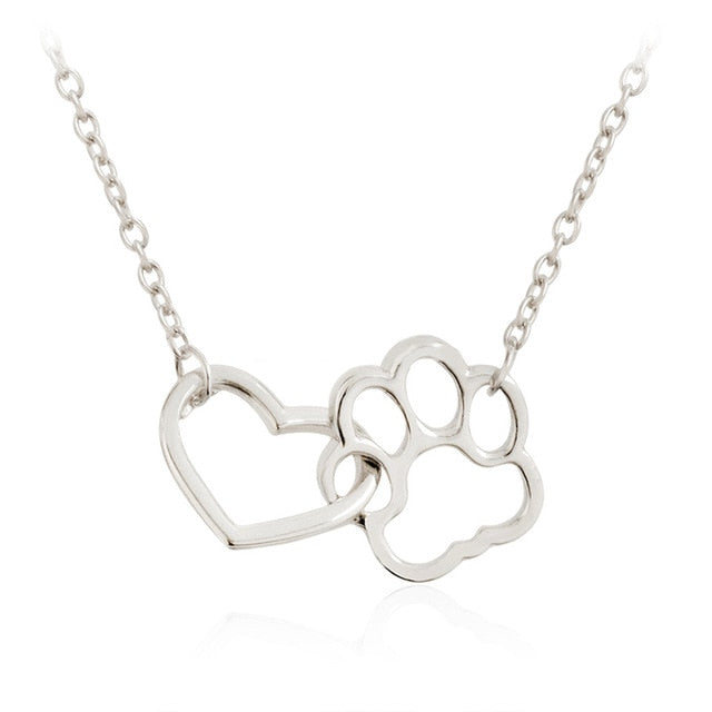 Hollow Pet Paw Footprint Necklace
