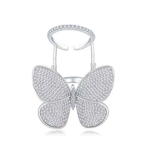 Crystal Stones Made Butterfly Ring