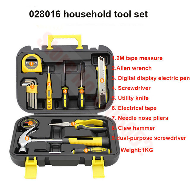 Hand Tool Set General Household Repair Tool Kit with Plastic Toolbox Storage Case Socket Wrench Screwdriver Car Repair Tool Set