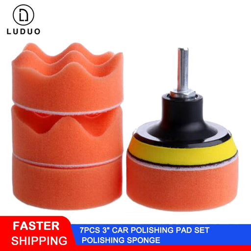 "LUDUO 7pcs 3"" Car Polisher Polishing Pad Set Polish Sponge Wheel Buffer Waxing for Headlight Body M10 Refurbish Care Accessories"
