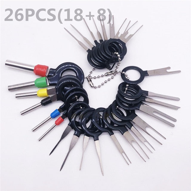 59pcs/set Car Terminal Removal Tools Car Electrical Wiring Crimp Connector Pin Extractor Kit Car Repair Hand Tool Plug Key TSLM2
