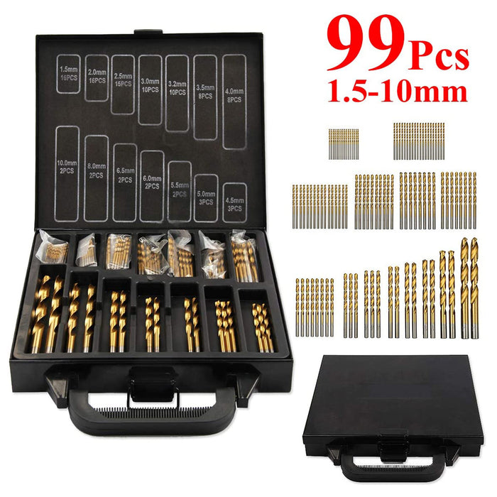 99Pcs Hss Drill Bits Set Titanium Coated Plastic Wood Metal Drill Bits for Cast Iron, Copper, Aluminum, Plastic and Wood Etc