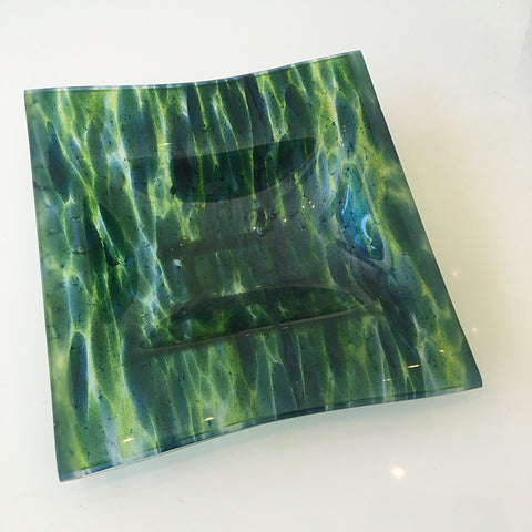 jennifer anne kelly ~ Blue-Green Square Bowl on Stand