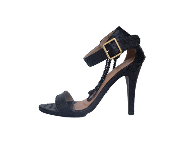 Black Strappy Python Snakeskin Shoes with Black Oynx Beads **Black Heart**