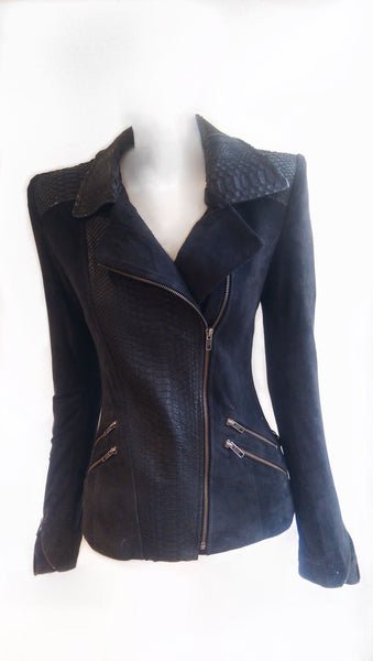 Leather Suede and Snakeskin Biker Jacket Detailing **THE MOSS STAR**