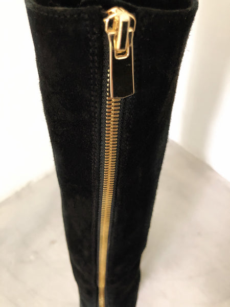 Knee High Suede Boots, Back Zip in Gold, **Golden Charm**