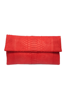 Handmade Snakeskin Clutch Bag in Coral