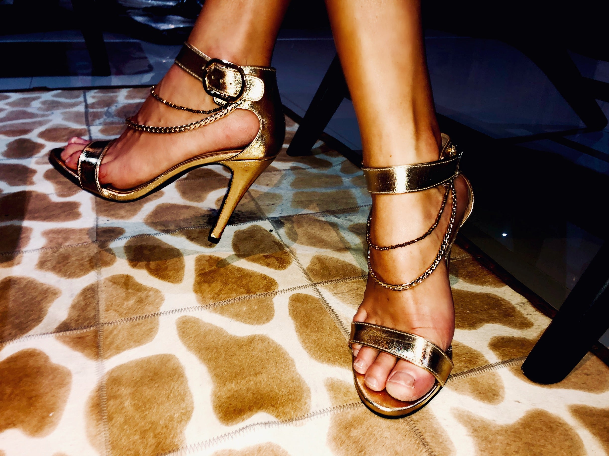 Gold Strappy Shoes with Gold Chains **Chain Me Up**