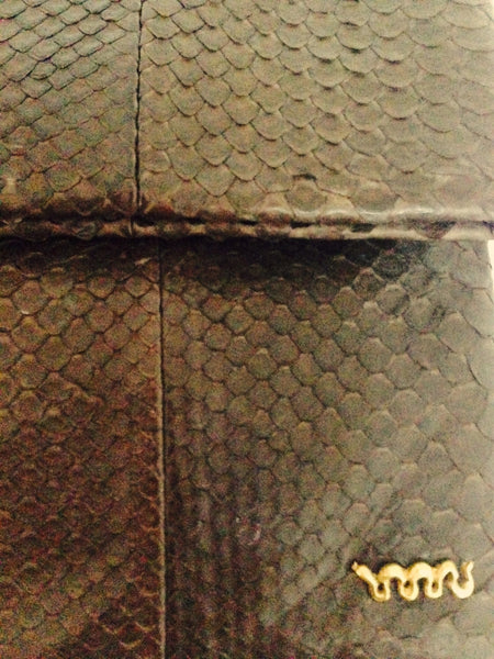 Handmade Snakeskin Brown Clutch