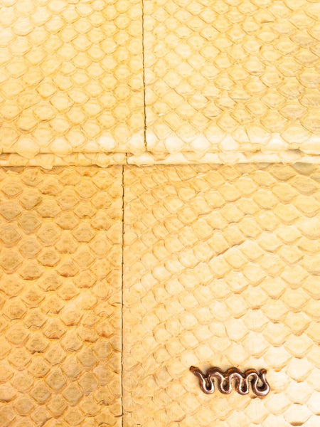 Handmade Snakeskin Yellow Clutch