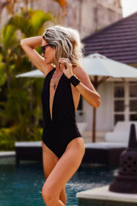 One Piece Halter Neck Swimming Costume **THE V SIGN**