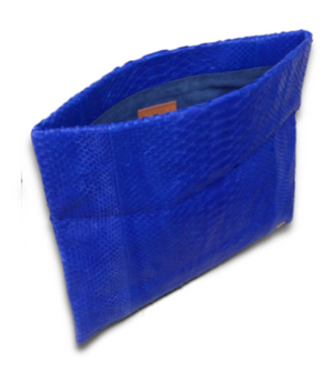 Handmade Snakeskin Electric Blue Clutch