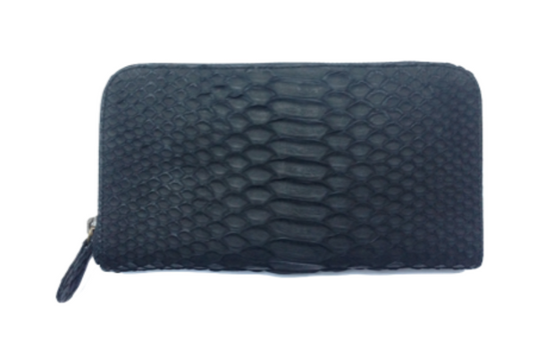 Snakeskin Melville Purse - Black