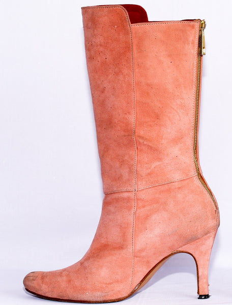 Suede Calf Length Wider Fit, High Heel Boots **Prowl**