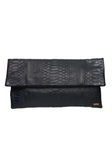 Handmade Snakeskin clutch bag in black