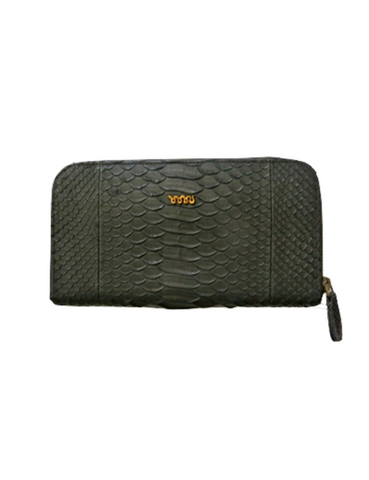 handmade snakeskin melville purse in black
