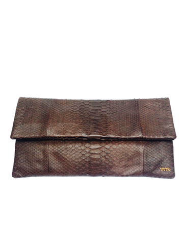 Handmade snakeskin clutch bag in brown
