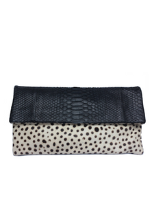 Handmade snakeskin and pony skin clutch bag in cow print