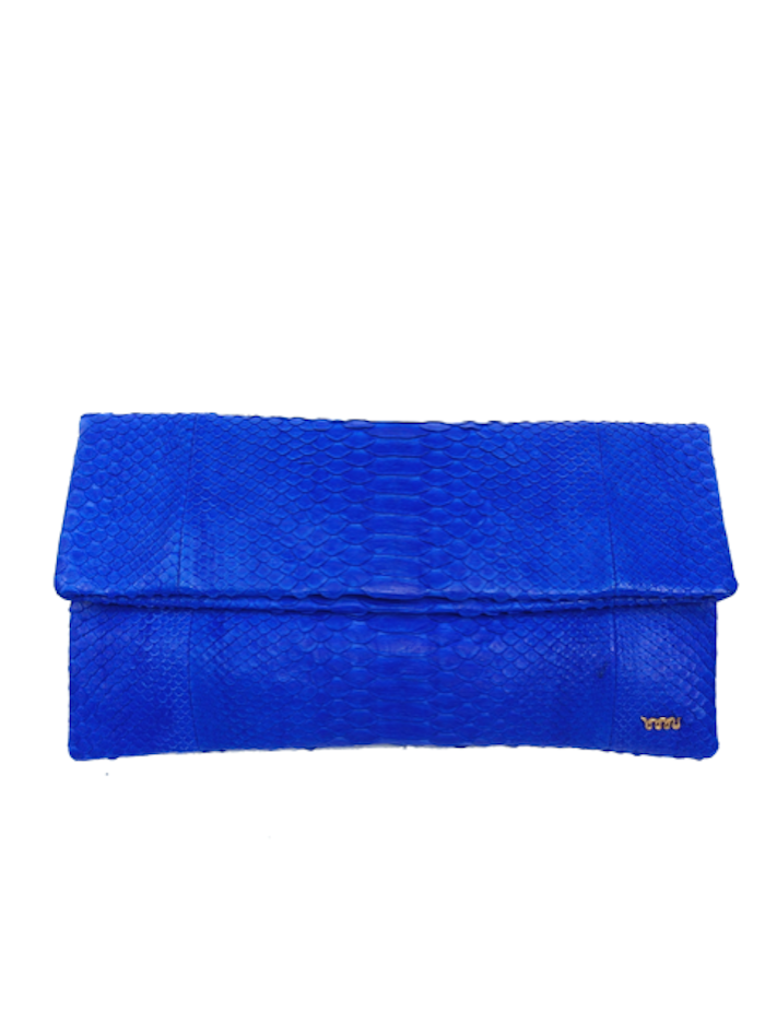 Handmade Snakeskin Clutch in Electric Blue