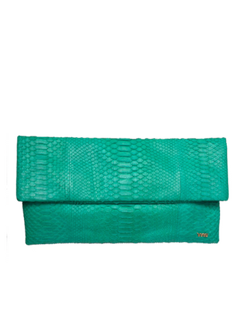 Handmade Snakeskin Clutch Bag in Emerald
