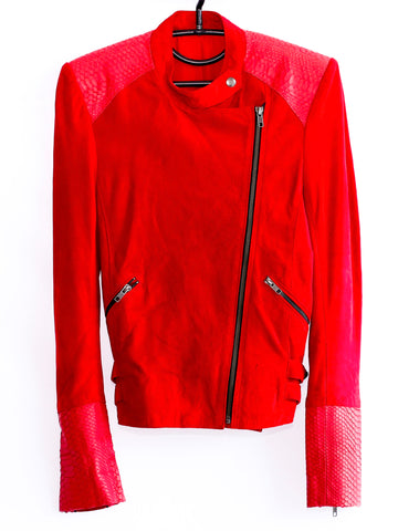 Suede and Snakeskin Biker Jacket Detailing **ROCKSTAR RED**
